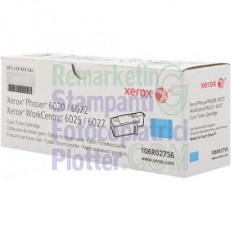 106R02756 - Toner Ciano Originale 106R02756 Xerox WorkCentre 6025-6027 Ph 6020-6022